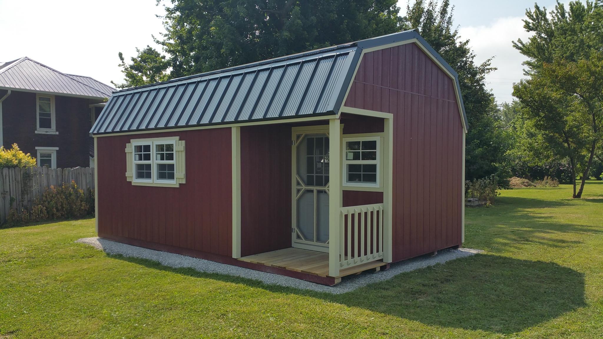 12x20 Gambrel Barn With Side Porch