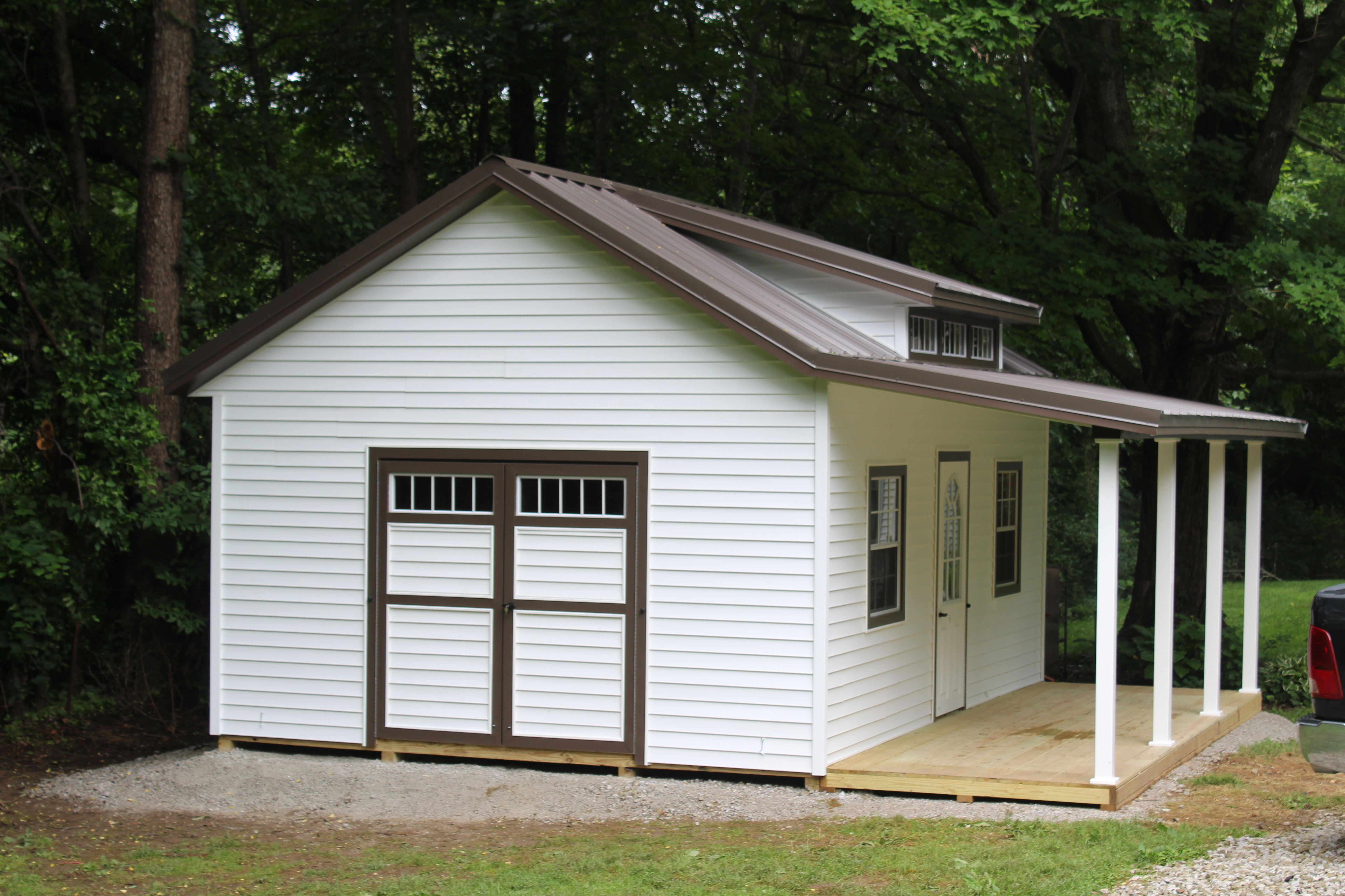 14x20 Garden Shed W Triple Transom Dormer And Porch