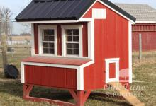 Chicken Coop, Black Metal Roof, Red Paint with White Trim